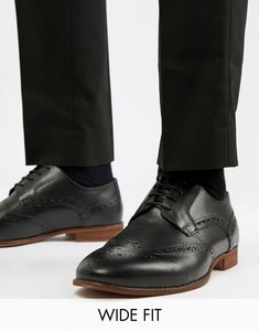 Read more about Kg by kurt geiger wide fit brogues in black leather - black