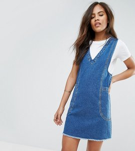 Read more about Asos tall denim chuck on mini dress in vintage blue wash - blue