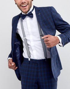 Read more about Asos braces bow tie set in herringbone and plain navy - navy