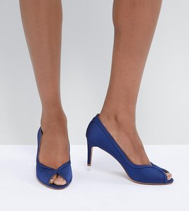 Read more about Asos design summer mid heels - navy satin