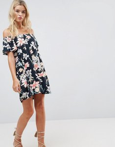 Read more about Asos design off shoulder sundress in navy floral print - navy floral