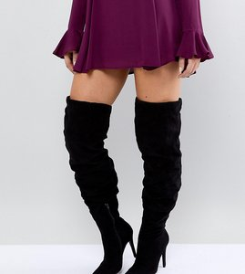 Read more about New look wide fit thigh high heeled boot - black