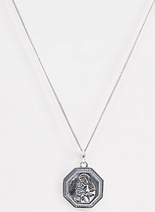 Read more about Asos design sterling silver religious style pendant necklace in burnished silver