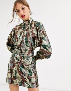 Read more about Asos design mini dress in camo sequin in slouchy fit with belt