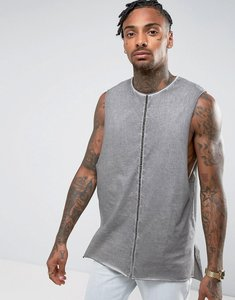 Read more about Asos super longline vest in grey wash with dropped armhole and step hem - grey