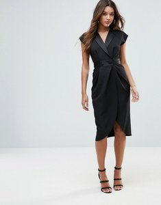 Read more about Asos tux midi dress with satin detail - black