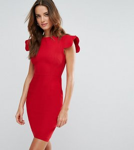Read more about Vesper pencil dress with scallop sleeve - red