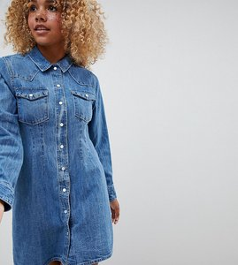 Read more about Asos design petite denim fitted western shirt dress with seam detail - blue