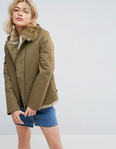 Read more about Parka london aya faux fur lined lightweight jacket - light khaki