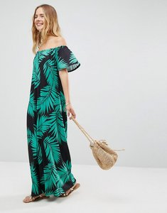 Read more about Asos off shoulder maxi sundress in black palm print - black palm print