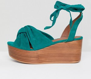 Read more about Asos design trinity premium suede flatforms - emerald suede