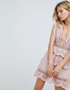 Read more about Prettylittlething crochet lace plunge swing dress - dusty pink