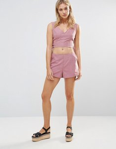 Read more about Neon rose pink faux suede shorts - pink