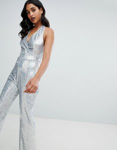 Read more about Tfnc sequin halterneck wide leg jumpsuit in silver iridescent