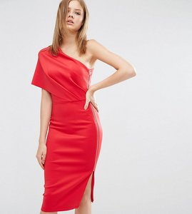 Read more about Asos tall one shoulder scuba deep fold midi dress with exposed zip - lipstick red