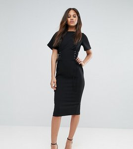Read more about Asos tall corset detail pencil midi dress - black