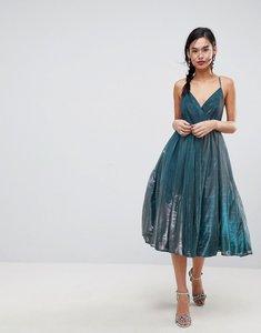 Read more about Asos metallic tulle midi dress - metallic blue