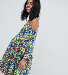 Read more about Glamorous bloom cold shoulder swing dress in electric floral print - lime multi floral