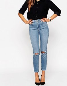 Read more about Asos design farleigh high waist slim mom jeans in prince wash with busted knees - lightwash blue