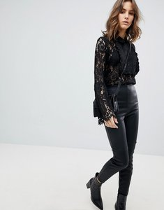 Read more about Unique21 lace blouse with frilly bib - black