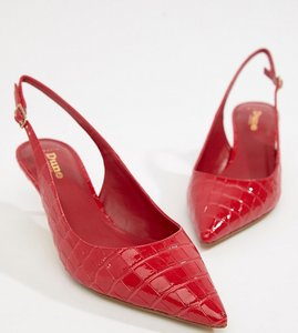941c7ee422e Read more about Dune casanna wide fit kitten sling back heels - red patent  croc