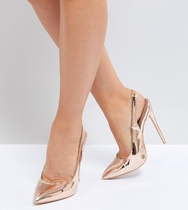 Read more about Lost ink wide fit rose gold sling back court shoes - rose gold