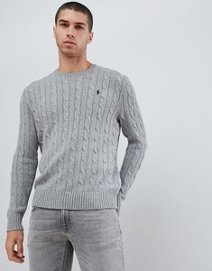 Read more about Polo ralph lauren cable cotton knit jumper with player logo in grey marl