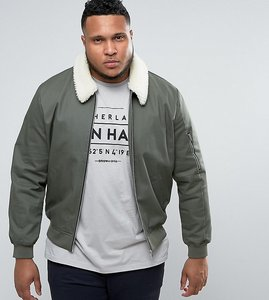 Read more about Asos plus cotton bomber jacket with borg collar in khaki - khaki