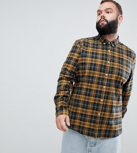 Read more about Asos design plus stretch slim check shirt in navy mustard - yellow