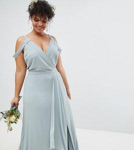 Read more about Tfnc plus cold shoulder wrap maxi bridesmaid dress with fishtail - green lily