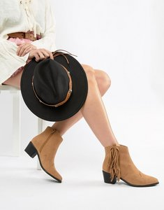 Read more about Miss selfridge exclusive fringed ankle boot - tan