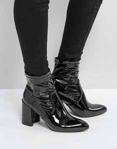Read more about Qupid sock block heel boot - black patent