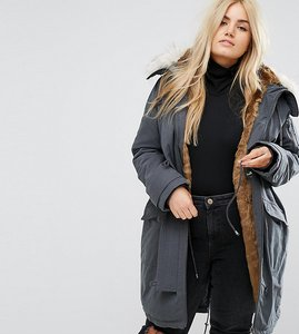 Read more about Asos curve ma1 parka with faux fur lining - grey
