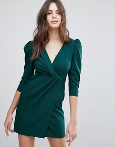 Read more about Asos wrap front mini dress - forest green