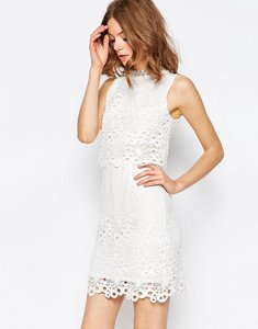 Read more about Asos lace cut work high neck embellished mini dress - white