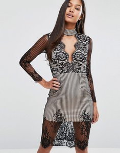 Read more about Love triangle lace plunge front midi dress with choker - black