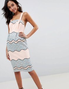 Read more about Asos design premium lace pencil midi dress with tulip hem - multi