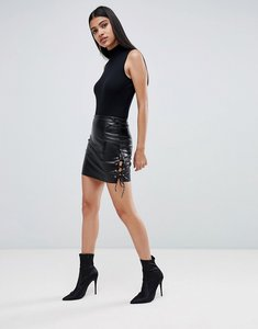 Read more about Lasula pu lace up side mini skirt in black - black
