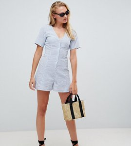 Read more about Asos design tall swing playsuit with button detail in stripe - stripe