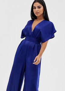 Read more about Flounce london petite satin jumpsut with plunge front in cobalt