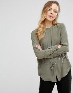 Read more about Warehouse silk drawstring blouse - khaki