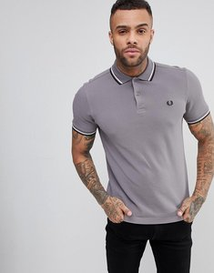 Read more about Fred perry slim fit slim fit twin tipped polo shirt in grey - 256