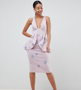 Read more about Asos design tall scuba embellished pencil dress - lilac
