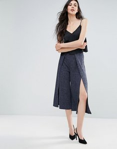 Read more about Lavish alice ribbed knitted culottes - navy