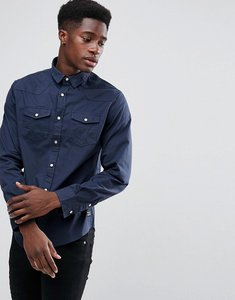 Read more about Brave soul double pocket long sleeve shirt - navy