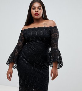 Read more about Flounce london plus bardot sequin lace midi dress with fluted sleeves in black - black