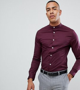 Read more about Asos design tall skinny shirt with grandad collar in burgundy - burgundy