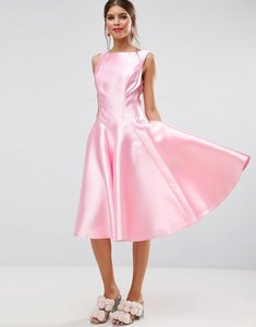 Read more about Asos salon panelled seamed midi prom dress with godets - pink