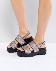 Read more about Asos flaunt chunky flat sandals - pink glitter