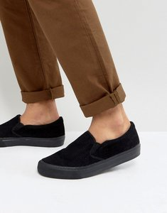 Read more about Asos slip on plimsolls in black cord with black sole - black